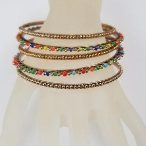 BALI Inspired Goldtone Multi Colored Bead Bangles
